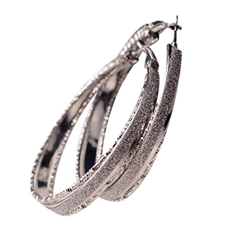 Napoo Clearance Women Dull Polish Round Dangle Drop Party Big Hoop Earrings  Silver