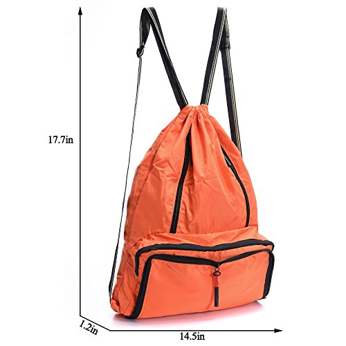 Drawstring Backpack Cinch Sack Foldable Sackpack Lightweight Gym Sack for Summer Swimming Travel Beach Dancing Gym Sports by Yinjue (Image #3)