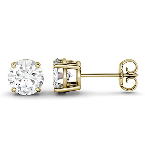 Forever One 6.5mm Round Moissanite Stud Earrings, 2.00cttw DEW (D-E-F) by Charles & Colvard by Charles & Colvard (Image #2)