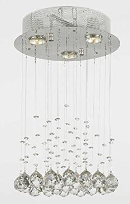Modern Chandelier Rain Drop Lighting Crystal Ball round Fixture Pendant Ceiling Lamp, H18 X W12, 3 Lights, Free Shipping