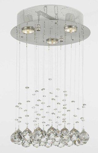 Modern Chandelier Rain Drop Lighting Crystal Ball round Fixture Pendant Ceiling Lamp, H18 X W12, 3 Lights,