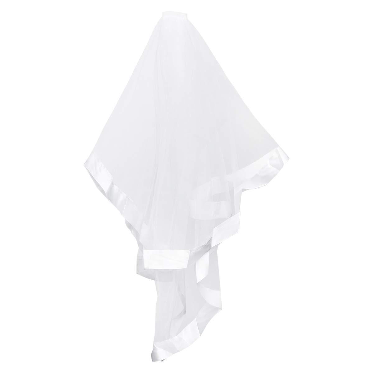 Amosfun Gauze Veil Beautiful Elegant Double Tier Fluffy Decor Veil with Comb for Bride Woman Lady 80cm White