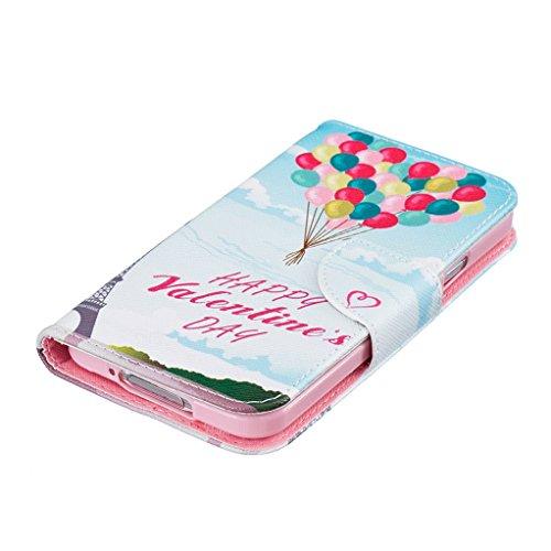 Trumpshop Smartphone Carcasa Funda Protección para Samsung Galaxy S5 (5.1 Pulgada) [Jirafa] PU Cuero Caja Protector Billetera con Cierre magnético Choque Absorción Happy Valentines Day