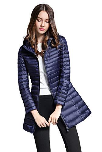 Mujer Media Para De Abrigo Azul Santimon Chaquetas Ropa Abajo Longitud Encapuchado Abrigos Invierno Marino Ultraligero q8gTta