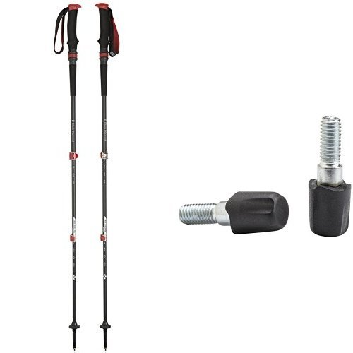 Black Diamond Trail Pro Shock Trekking Pole, 68-140cm and Black Diamond Tech Tip (Rubber) Bundle