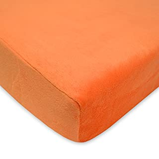American Baby Company Heavenly Soft Chenille Fitted Crib Sheet for Standard Crib and Toddler Mattresses, Orange, for Boys and Girls, Pack of 1