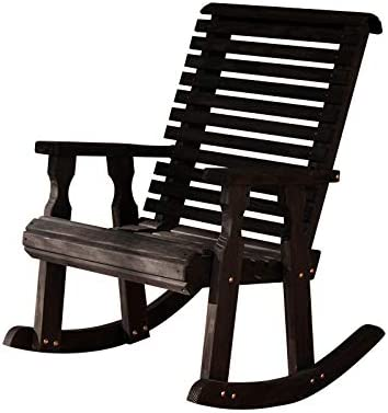 Amish Heavy Duty 600 Lb Roll Back Pressure Treated Rocking Chair Semi-Solid Black Stain