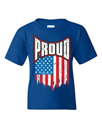 Proud American Flag Youth's T-Shirt Pride USA Shirts Youth X-Small Royal Blue XIT 12036
