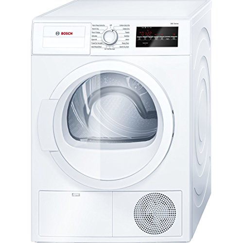 Bosch WTG86400UC 300 Series 24″ Compact Electric Condensation Dryer with 4 cu. ft. Galvalume Drum Sensitive Drying System 15 Programs and 6 Options in