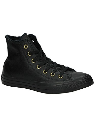 CONVERSE CHUCK TAYLOR ALL START HI WINTER KNIT FUR BLACK LEATHER TRAINERS