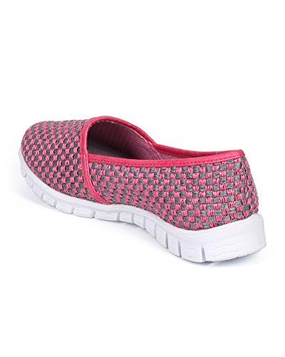 Misbehave DK20 Women Woven Almond Toe Lightweight Slip on Loafer Sneaker - Fuchsia cTk8uWyyFs