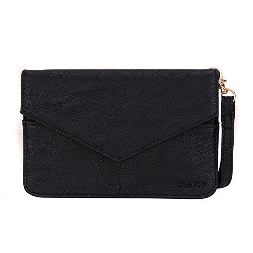 Conze Mujer embrague cartera todo bolsa con correas de hombro para Smart Phone para Meizu MX4/Pro negro negro negro