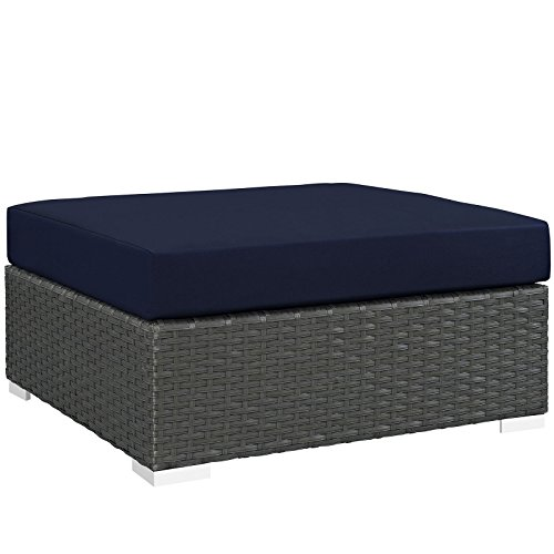 Modway Sojourn Outdoor Patio Rattan Large Ottoman With Sunbrella Brand Navy Canvas Cushions For Sale
