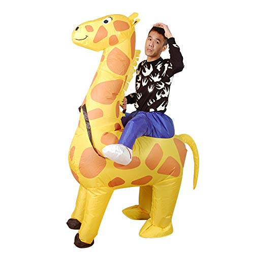 RNGNBKLS Adult Kids Giraffe Inflatable Fun Costume Blow Up Carnival Halloween Party Fancy Dress Costume,150-190cm -