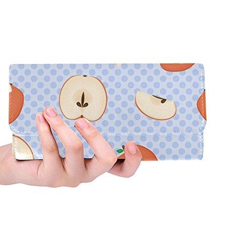 Unique Custom Apple Fruit Food Harvest Summer Women Trifold Wallet Long Purse Credit Card Holder Case Handbag