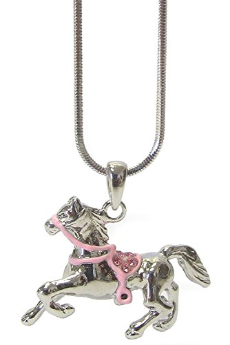 Lucky Horse/Pony with Pink Crystal saddle Silver Tone Necklace Charm Pendant Necklace