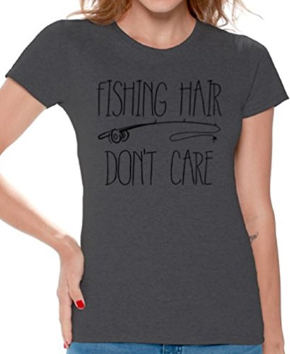 Awkward Styles Women's Fishing Hair Don`t Care T Shirts Tee Tops for Women with A Fishing Rod Charcoal 3XL