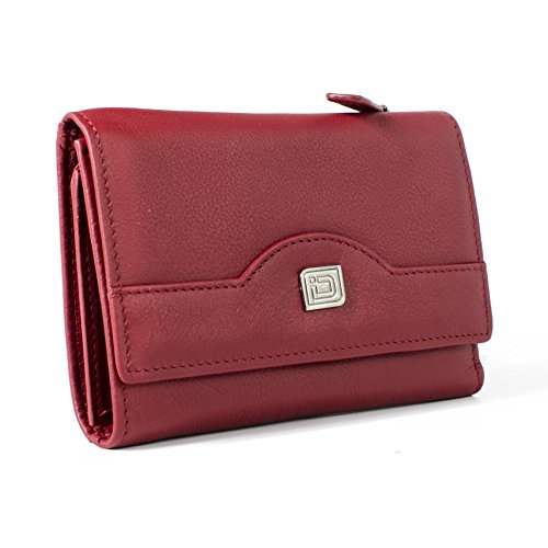 RFID Leather Trifold Wallet for Women - Secure Small Evening Clutch - Red Liz Claiborne Handbag