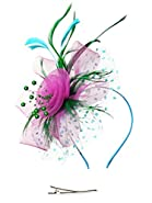 Fascinators Headband Tea Party Hats for Women Royal Wedding Hat Feather Mesh Hair Clip