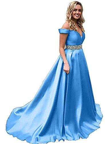 Homdor Beaded Off Shoulder Prom Dress A-Line Satin Evening Formal Gown for (Satin Formal Gown)