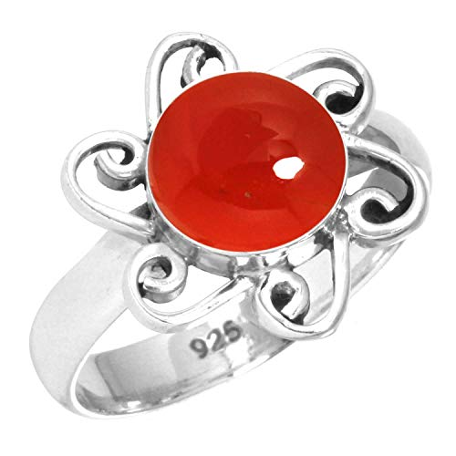 Natural Carnelian Women Jewelry 925 Sterling Silver Ring Size 6