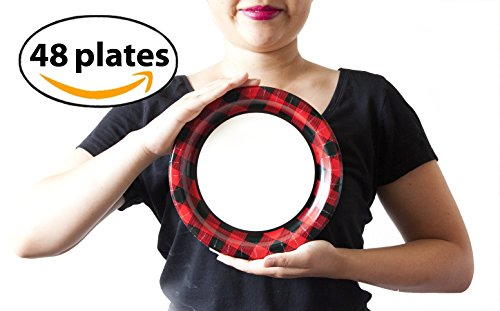 Red Lumberjack Buffalo Plaid Party Paper Plates, 48 Count. Disposable. Red and Black Buffalo Plaid. -