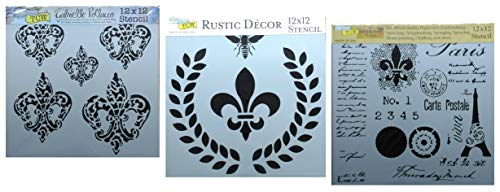 3 French Style Fleur De Lis Stencils | Large Mixed Media Stencil Set for Arts, Card Making, Journaling, Scrapbooking | 12 Inch x 12 Inch Templates | by Crafters Workshop