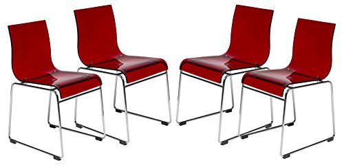 LeisureMod Walker Mid-Century Acrylic Dining Chair with Chrome Base in Transparent Red, Set of 4