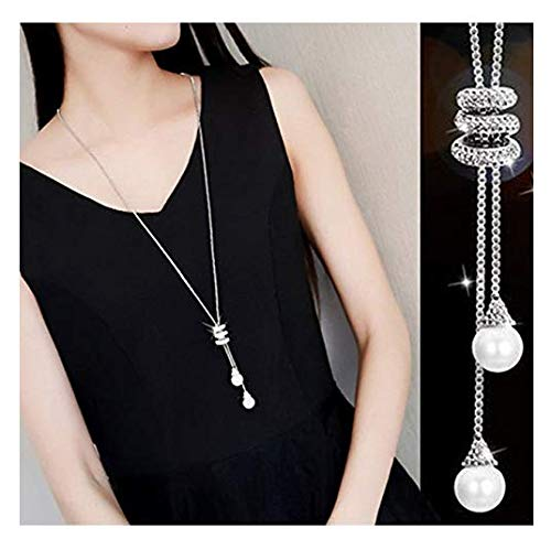 Rurah Fashion Ladies Luxury Charm Crystal Spiral Pearls Pendant Tassel Necklace Long Necklace Sweater Chains,Silver color