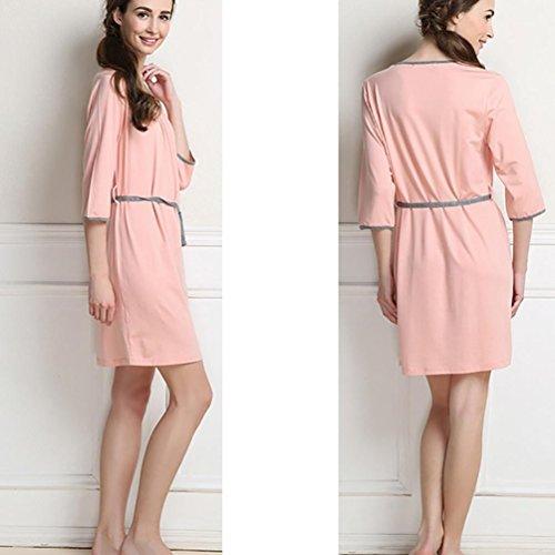 CHUNHUA Sra ocasional pijamas chándal manga modal del camisón de las yardas grandes , pink , l (160/84a) Pink