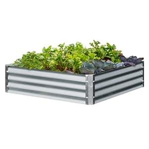 EarthMark MGB-L023 Bajo Series 40 x 40 x 10 in. Square Galvanized Metal Raised Garden Bed