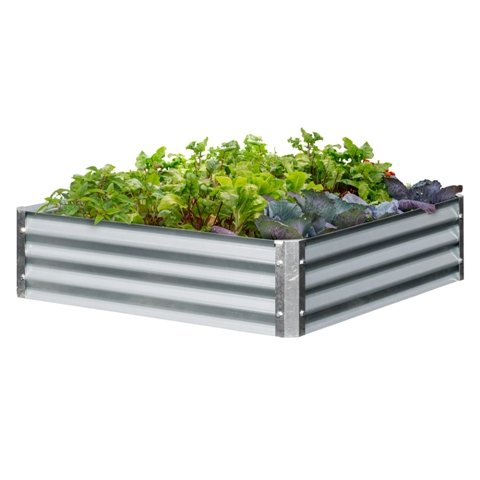 EarthMark MGB-L023 Bajo Series 40 x 40 x 10 in. Square Galvanized Metal Raised Garden Bed
