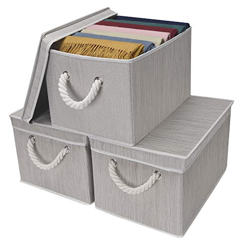 StorageWorks Storage Bins with Lid and Cotton Rope Handles,