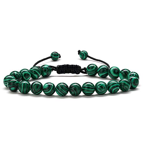 - M MOOHAM Malachite Mens Bracelet Gifts - Natural Green Malachite Stone Womens Anxiety Healing Bracelets, Elastic Malachite Stone Bracelet Wedding Gifts Bridal Shower Gifts Bridesmaid Gifts