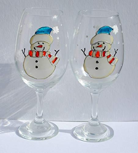 Snowman Blue Hat Hand Painted Stemmed Wine Glasses Set of 2