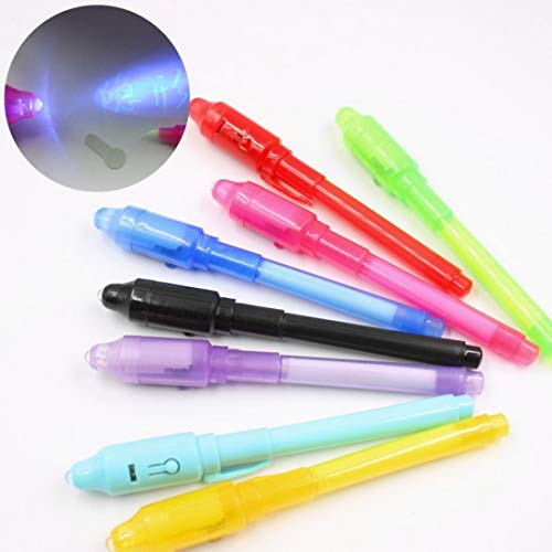 Invisible Ink Pen With Uv Light 10Pcs Drawing Magic Highlighters Pens For Kids Secret Message Party Fun Activity Favors Marker Diary Notes (Rose Pendant Light Glass)