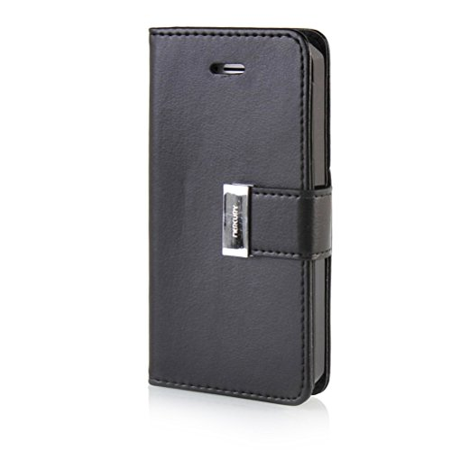 MOONCASE iPhone 5 Case Leder Schutzhülle für iPhone 5 5S Handyhülle Etui Tasche Flip Cover Hülle Schwarz