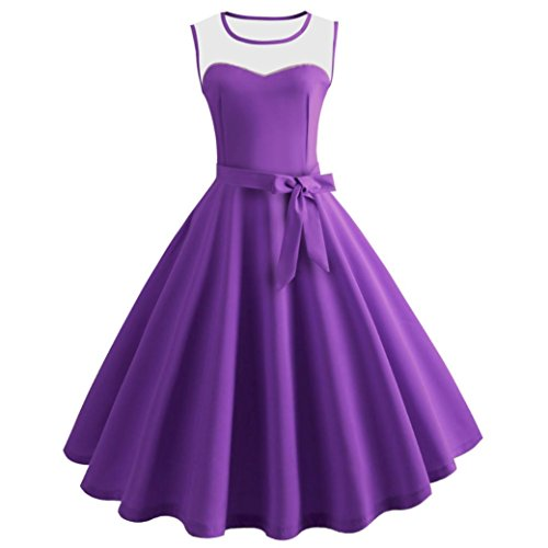 Low Jumper Pleated (Women Dress Hot Sale Daoroka Vintage Retro Sexy Summer Sleeveless Evening Party Casual A Line Swing Pleated Bodycon Sundress With Sashes Skirt (2XL, Purple))