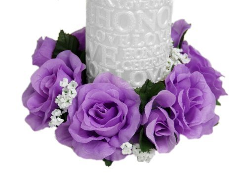 - 6 pcs Silk Roses Flowers Candle Rings Wedding Centerpieces (Purple)