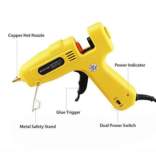 Hot Glue Gun, BOJECHER Full Size 60/100W Dual Power Hot Melt Glue Gun with 20pcs Glue Sticks (0.43 x 7.8) High Temperature Melt Adhesive Glue Gun Kit for Home DIY Craft Projects and Industrial Repair by BOJECHER (Image #2)