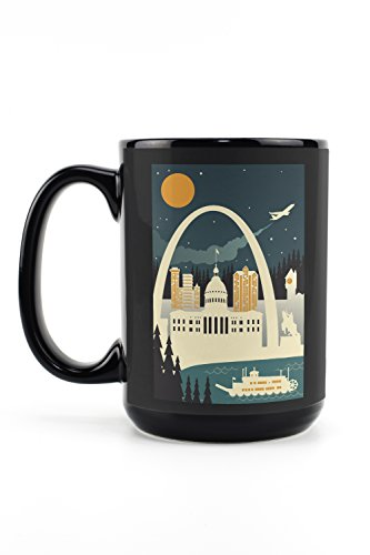 - St. Louis, Missouri - Retro Skyline (no text) (15oz Black Ceramic Mug - Dishwasher and Microwave Safe)