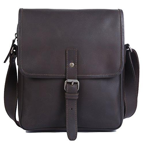 DAS GERMANY Men's Robert Cross Body Bag Leather Bag 26 L X 30 H X 10 W D. BROWN