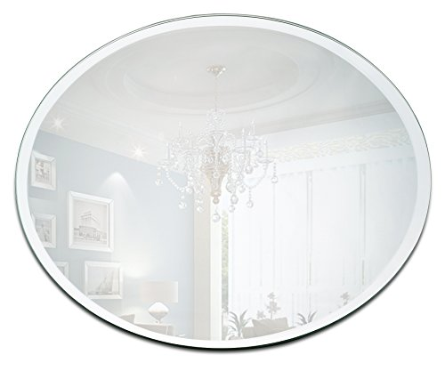 (Light In The Dark Round Mirror Candle Plate Set - Box of 12 Mirror Trays - 12 inch Diameter with Beveled Edge - Round Mirror for Centerpieces, Wall Décor, Crafts)