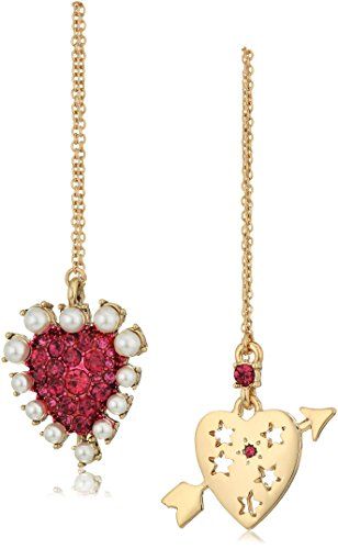 Betsey Johnson Mystic Baroque Queens Fuschia and Gold Heart Mismatched Drop Earrings