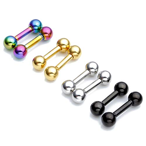 (Stainless Steel 14G Body Piercing Barbells Silver Gold Black Rainbow Color 6mm Post Studs Earring Nipple Nose Tongue Helix Tragus Cartilage Labaret Medusa Lip Eyebrow Straight Bar 4mm Ball)