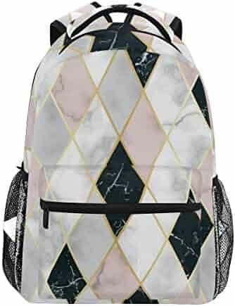 2619c0a3b92 Geometric Pink White Black Marble Backpacks Travel Laptop Daypack School  Bags for Teens Men Women