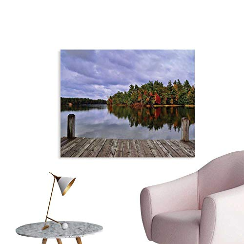 J Chief Sky Lake Art Stickers Wooden Dock and Island Ablaze in Fall Splendor Ludington State Park in Michigan USA Wall Decals for Kids Living Room W36 xL24 (Kendall The Falls)