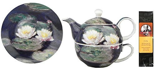(Monet Water Lilies Tea One for in Matching Gift Box and One Package of Tea Bags, Bundle 2 Items)