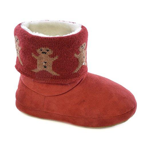 Dames / Dames Kerstontwerp Light Up Slipper Boots Rood (gingerbread Men)