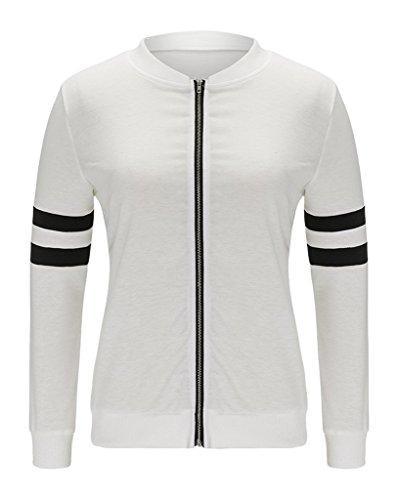 Blanc Casual Sport Blouson Veste Baseball Manche Jacket Bigood Printemps Manteau Moto Longue Automne qRPwIEx67